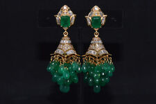 Certified Natural 102Cts Diamond Emerald 750 18K Gold 2-IN-1 Chandelier Earrings