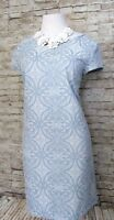 Halogen Dress Baby Blue Short Sz LP Women Zip Short Sleeve Stretch Pattern Fit