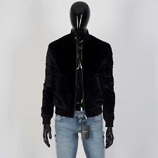 Saint Laurent Quilted Ma-1 Bomber Jacket in Black Silk Velvet