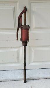 "Antique Vtg Oil Pump Dispenser Only for Tank Lube Lubester 39"" Gas Station Red"