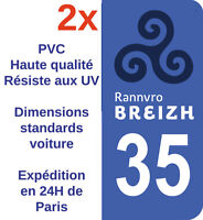 Sticker Autocollant immatriculation Département 35 Bretagne Ille-et-Vilaine X2