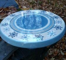 "St. Nicholas Square Winter Frost 13"" Cake Stand/Plate Blue White Snowflake"