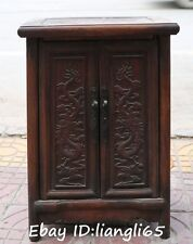 Old Chinese Huanghuali Wood Dragon Loong Classical Cabinet Cupboard Stool Statue