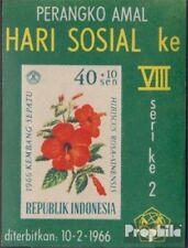 Indonesia Blok 5 (volledige uitgave) postfris MNH 1966 Bloemen