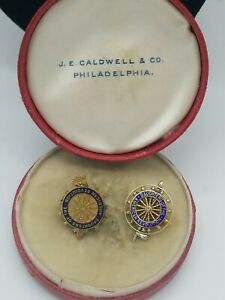 Two Daughters Of The American revolution Pins One Marked 14k,J.E caldwell box