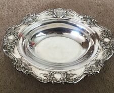 New listing Towle Silverplate Vintage Flower Rose Lattice Platter Serving Bowl Oval Scallop