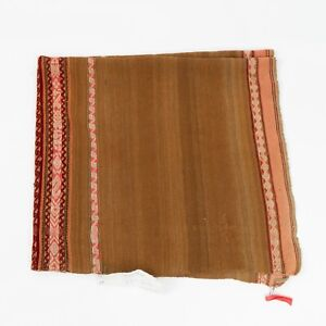 "Antique Hand Woven Katka Peruvian Alpaca Wool Textile Brown & Pink 41"" x 45.5"""