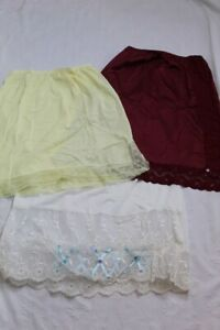 Estate Sale Lot 3 Vintage Half Slips - Size 30-32 - Burgundy Yellow Cream Lace