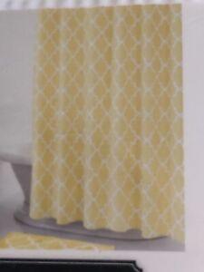 NEW Julius Shower Curtain One Home 100% Cotton FABRIC 72x72 yellow