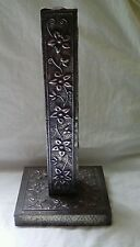Tall Vintage hammered Pewter Arts & Crafts Candlestick Candle Wood