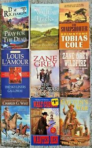 WESTERN PAPERBACK 9 BOOK LOT NOVELS BOOKS ALL DIFFERENT WESTERNS