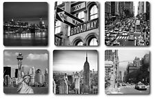 NEW YORK THEMED COASTERS - HIGH QUALITY - SET OF 6 - BLACK AND WHITE