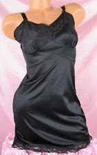VTG Black All Nylon Scalloped Lace Short Fancy Full Slip Dress sz S