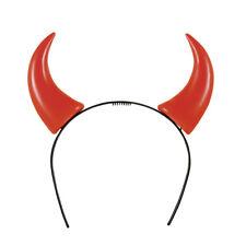 Deguisement diable cornes bandeau halloween serre tete enfant homme femme ROUGE