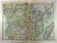 Original 1902 Map of Colonial Central Africa by The Century Company. Antique
