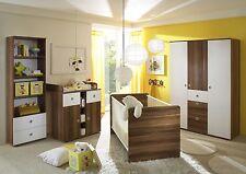 Chambre bébé enfant MILU 4 pièces Noyer-blanc