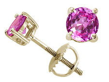 2.50 CT 14K SOLID YELLOW GOLD ROUND SHAPE PINK SAPPHIRE STUD EARRINGS SCREW BACK