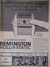 PUBLICITÉ 1960 REMINGTON RASOIR ÉLECTRIQUE ROLLAMATIC RASEZ VOUS SUR MESURE
