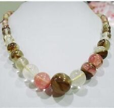 6-14mm Watermelon Tourmaline Gems Round Beads Necklace 18""