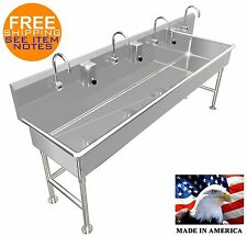 """Wash Up Sink Big Tub 4 Station 96"""" Electronic Faucet Free Standing Made In Usa"""