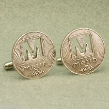 Washington DC Metro Token Cufflinks, M-Cut Vintage 1973