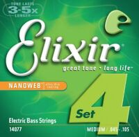 Elixir 14077 Nanoweb set of 4 MEDIUM LONG SCALE Bass Strings