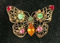 Vintage Fruit Salad Rhinestone Antiqued Gold Tone Filigree Butterfly Brooch Pin