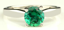 14KT Solid White Gold 1.40CT Round Shape Natural Green Emerald Anniversary Ring