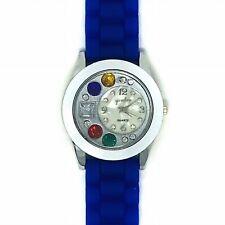 QUARTZ Ladies Watch with Rhinestones / Blue Jelly Strap