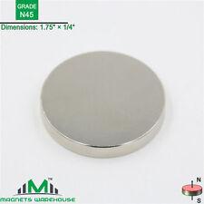 """1-count neodymium N45 Disc rare earth NdFeB magnets 1.75 x 1/4""""(true N45)"""
