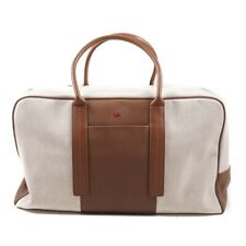 ISAIA Woven Canvas and Leather Carryall Weekender Bag NWT $2385