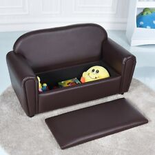 Kids Sofa Armrest Chair Lounge Couch w/ Storage Function Children Toddler Brown