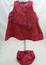 Catimini. ensemble robe fuschia fleurs carreaux et culotte bébé fille 6 mois