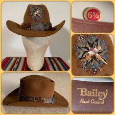 VTG 70s BAILEY 5X Cowboy HAT 6 3/4 Western Small Feather Headband Pheasant Pin