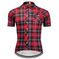 Mens Short Sleeve Cycling Jerseys Bicycle Team Racing Plaid Shirt Red Full Zip