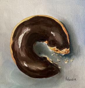 KRISTINE KAINER ORIGINAL Chocolate Doughnut Donut Food Art Daily Painting a Day