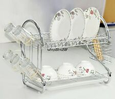 2 Double Tiers Kitchen Kitchenware Dish Cup Rack Drain Shelf Holder Shelf Stand