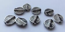 6 pieces - silver coloured swirl bead with hole - 1.1 cm x 1.1 cm