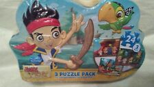 Disney Junior Jake and the Never Land Pirates In Metal Tin 3-Puzzle Pack - NEW