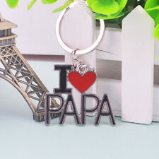 New Father's Day Creative Silver Alloy I Love PAPA Bag Car Keychain X'mas Gifts