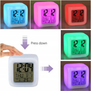 Multifunction 7 Color Change LED Digital Alarm Clock With Date Alarm Thermometer