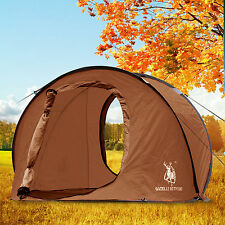 Large Pop Up Camping Hiking Tent Automatic Instant Setup Easy Fold back - Brown