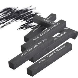 6*Compressed Charcoal Sticks Square Soft/Medium/Hard Graphite Drawing Pencil Art