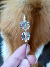 (U-336) faceted clear crystal ice gold brass bead beaded hatpin Pin hat pins