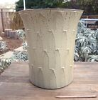 "David Cressey Glazed Ribbed Planter Architectural Pottery 15"" Carved Plant Pot"