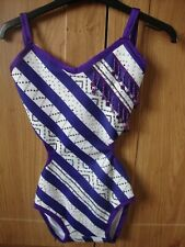 Blue, white and purple stoned freestyle leotard and headpiece
