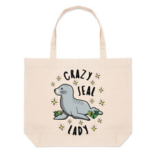 Crazy Seal Lady Stars Large Beach Tote Bag - Funny Animal Shoulder Shopper