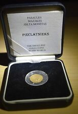 5 Lats Latvia Gold Coin The Smallest Gold Coins Of The World Rare!