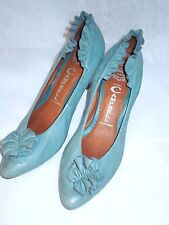 JEFFREY CAMPBELL RUFFLE  BLUE LEATHER PUMPS  HEELS  SHOES 7.5 EUC BEAUTY