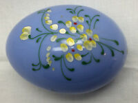 """Vintage Easter Egg Hand Painted Hard Plastic Candy Container 3"""" X 4 1/2"""" Blue"""